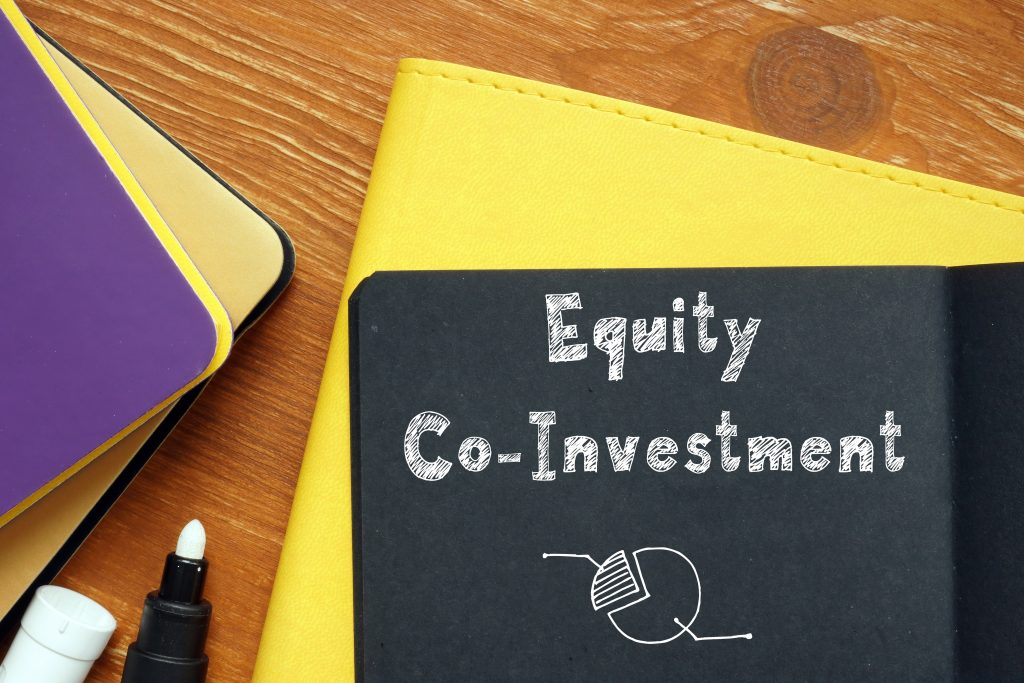 Business concept meaning Equity Co-Investment with sign on the sheet.