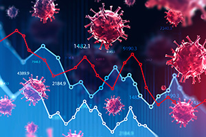 Ncov 2019 covid 19 coronavirus with double exposure of blurry falling financial graphs. Concept of financial crisis due to coronavirus pandemic. 3d rendering