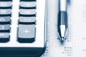 Banner Of Pen And Calculator On Financial Report - Business Acco